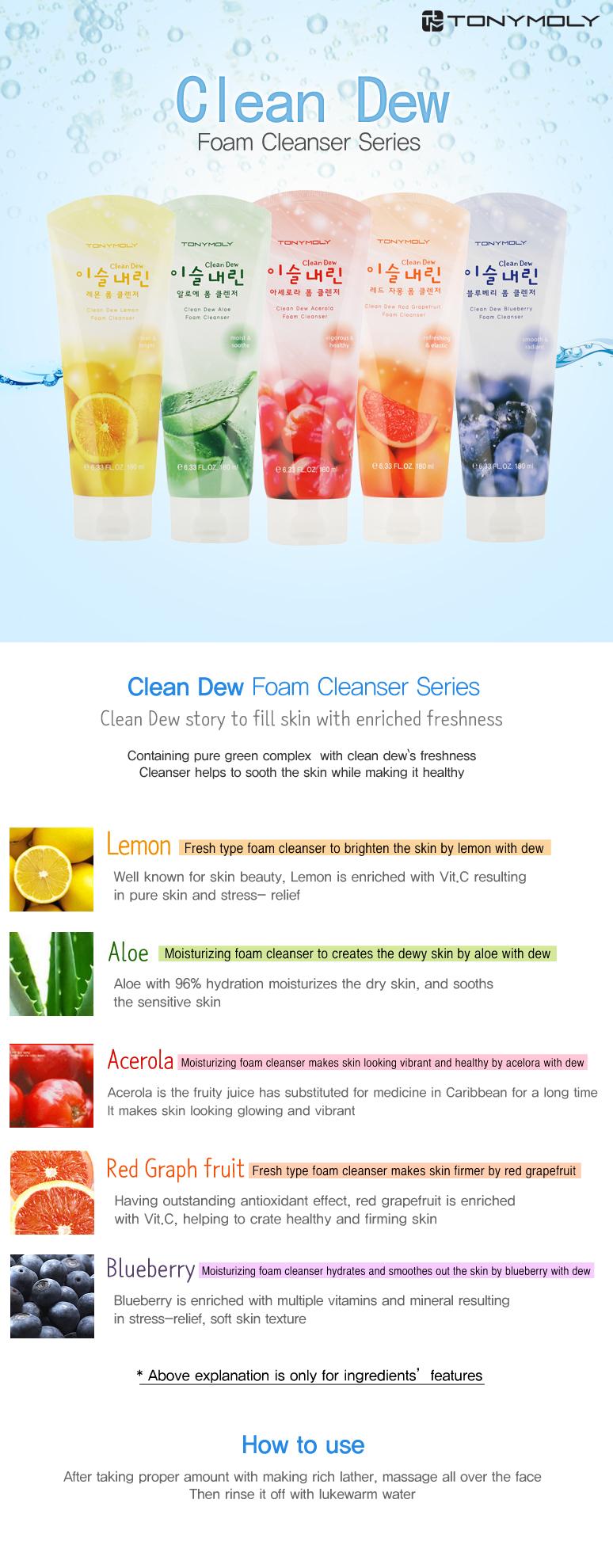 [Tonymoly] Clean Dew Acerola Foam Cleanser (180ml)